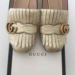 Gucci GG Marmont Fringed Metallic Gold Loafer